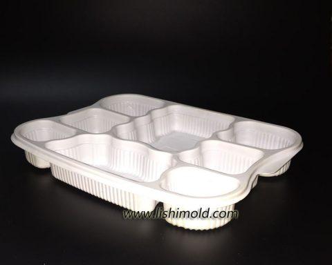 白色八格快餐打包盒
