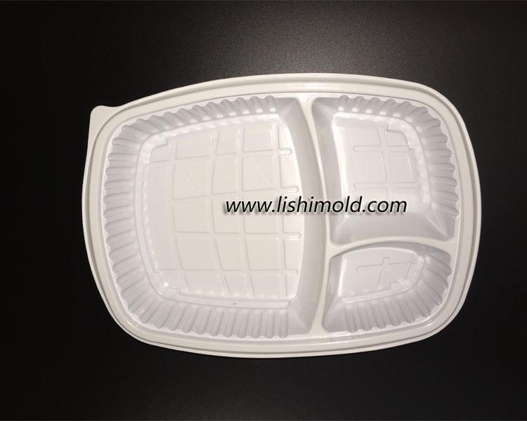 白色三格一次性餐盒