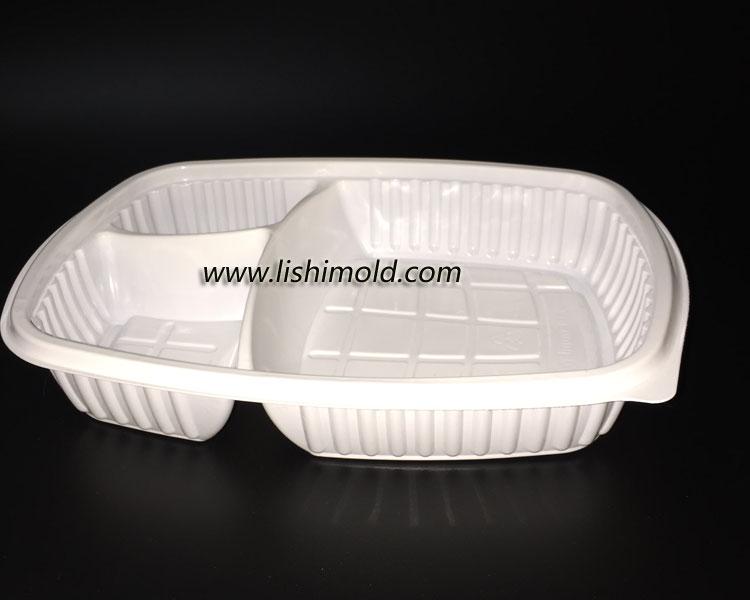 白色三格一次性餐盒 侧面