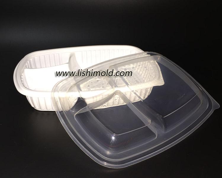 三格一次性餐盒和盖子