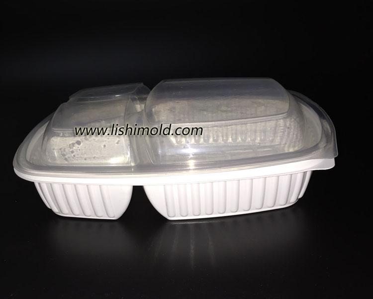 三格一次性餐盒 盒盖闭合